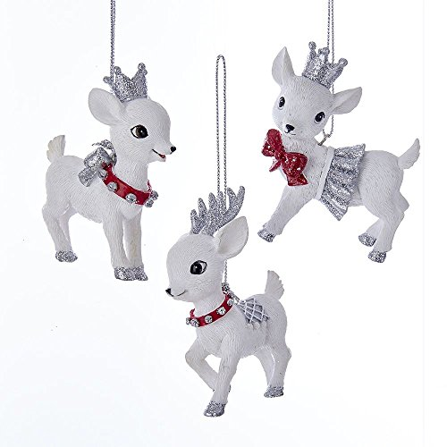 Kurt Adler 3″ Red and Silver Baby Deer Ornaments Set of 3
