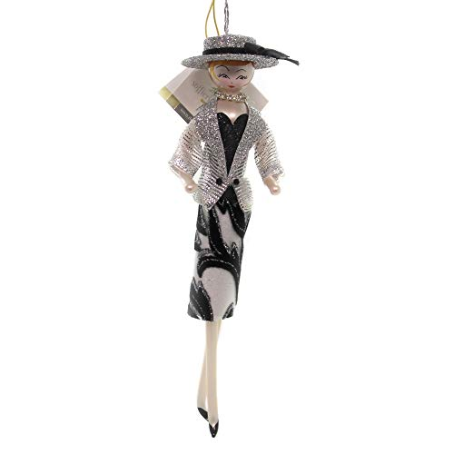 De Carlini Lady with Silver/Black Dress Glass Italian Christmas Ornament Do7642