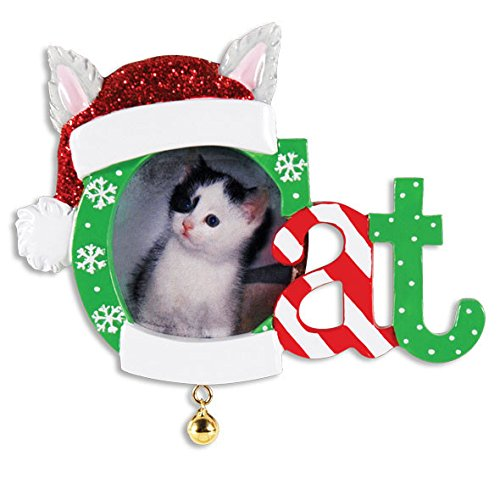 Santa Hat Cat Photo Frame Ornament