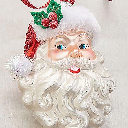 Santa Claus Face Glass Christmas Tree Ornament, 5 Inch