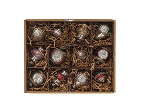 Creative Co-op Glass Ball Box (Set of Ornament, Multicolor