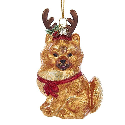 Kurt Adler Noble Gems Pomeranian with Antlers Glass Ornament