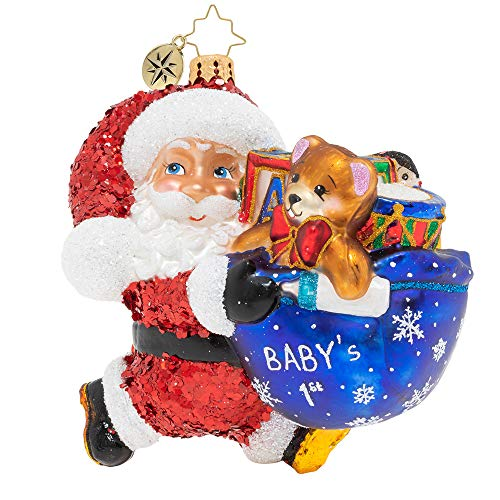 Christopher Radko Hurry Santa! It's Baby's First Christmas! Christmas Ornament
