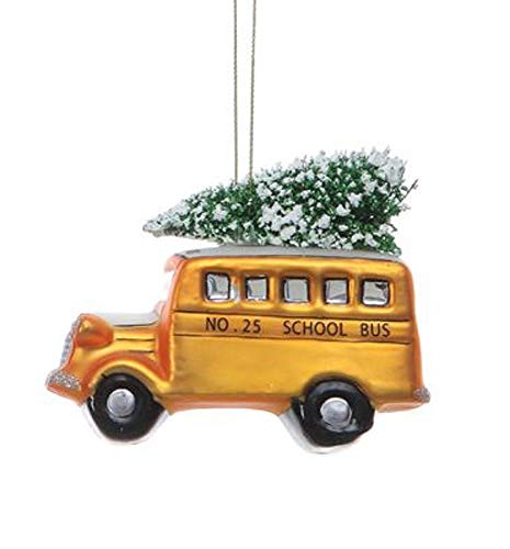 Creative Co-op School Bus with Tree Hand Painted Glass Hanging Ornament