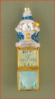 Cobane Studio LLC COBANEE221 Baby's First Christmas Bear Blue Ornament