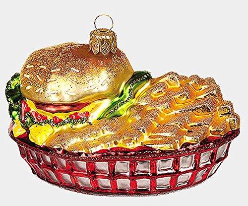 Pinnacle Peak Trading Company Basket of Burger and Fries Food Polish Blown Glass Christmas Ornament Decoration