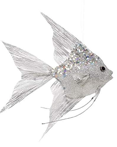 Mark Roberts Coastal Christmas Collection Angel Fish Ornaments Silver 10×8.5×1.75 Inch, 1 Ea