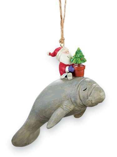 Cape Shore Santa Riding Manatee Nautical Christmas Holiday Ornament