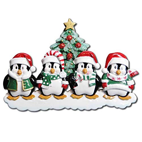 Polar X Winter Penguin Family 4 Personalized Christmas Ornament (Family Series)