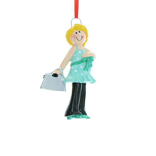 Personalized Expecting Mom Christmas Tree Ornament 2019 – Blonde Pregnant Mother Shower Shop Bag to Be Women Baby Bump Nursery Boy Girl Gender Neutral Gift Year – Free Customization (Yellow Hair)