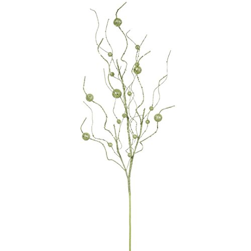 Vickerman QG164313 Glitter Ball Spray with Paper wrapped wire stem in 6/Bag, 37″, Lime