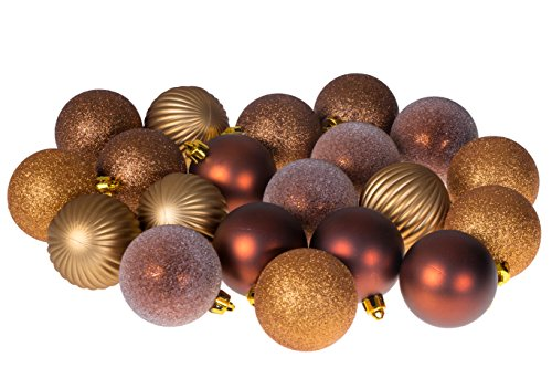 Clever Creations 20 Piece Gold and Bronze Christmas Ornament Ball Set Festive Holiday Décor | Glitter, Gloss, Frost, Mirror Ball and Swirl Textures | Shatter Resistant | Hangers Included | 55mm