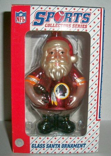 Washington Redskins Blown Glass Santa Christmas Ornament NFL