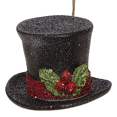 RAZ Imports Raz 3″ Black Glittered Top Hat Christmas Ornament 3819043
