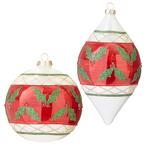 Set of 2 Raz 7″ Holly Glass Christmas Ornament 3922923