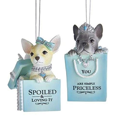 Kurt Adler Set of 2 Tiffany Blue Puppy with Sayings Ornaments