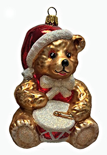 Pinnacle Peak Trading Company Teddy Bear with Santa Hat Playing The Drums Polish Glass Christmas Tree Ornament