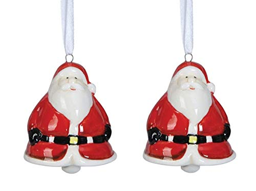 Creative Co-op Jingle All The Way Santa Claus Ceramic Bell Ornament – Set of 2