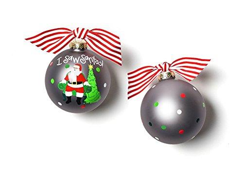 HAPPY EVERYTHING! I Saw Santa Glass Ornament