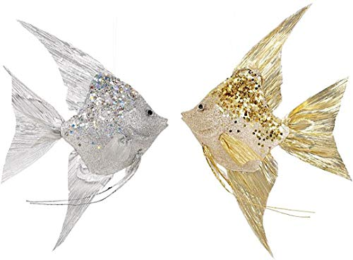 Mark Roberts Coastal Sea Christmas Collection Angel Fish Ornaments Gold and Silver 13×8.5×2.75 Inch, Set of 2 Assorted