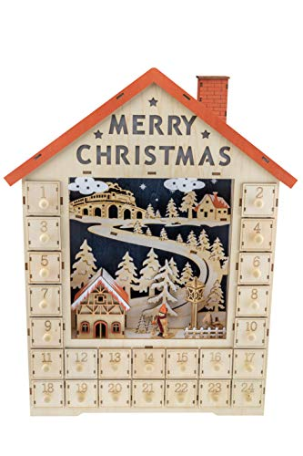 Clever Creations Traditional Wooden Christmas Advent Calendar | Festive Christmas Village Decorations | Battery Operated LED Lights | Winter Snow and Christmas Tree