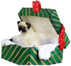 Conversation Concepts Pug Green Gift Box Dog Ornament – Fawn