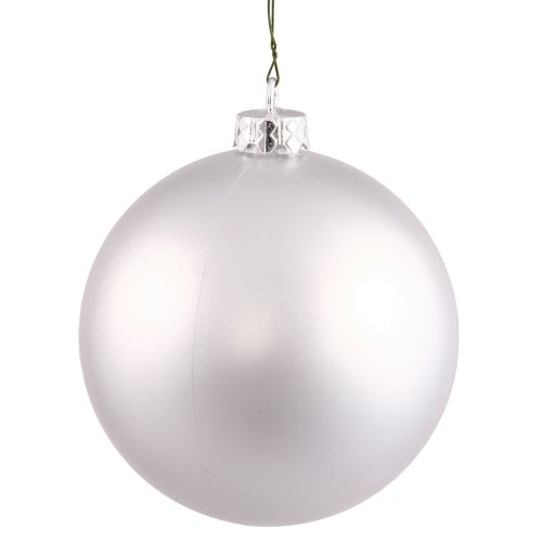 Vickerman Matte Finish Seamless Shatterproof Christmas Ball Ornament, UV Resistant with Drilled Cap, 4 per Bag, 4.75″, Silver