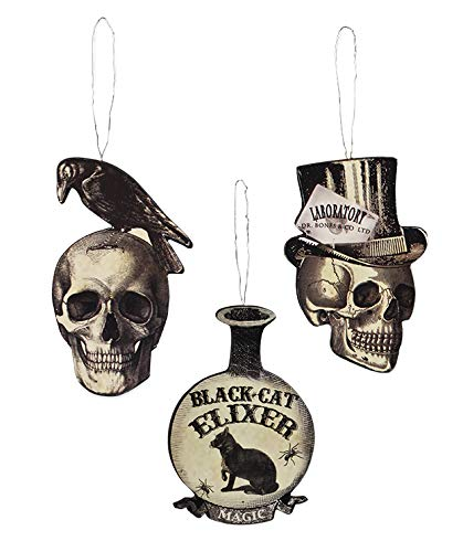 Bethany Lowe Halloween Apothecary MDF with Vintage Images Ornament Set of 3