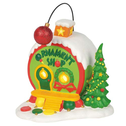 Department 56 Grinch Ville Ornament Shop Village Lit Building, Multicolor