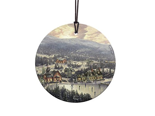 Trend Setters Thomas Kinkade Art Sunset on Snowflake Lake Starfire Prints Hanging Glass