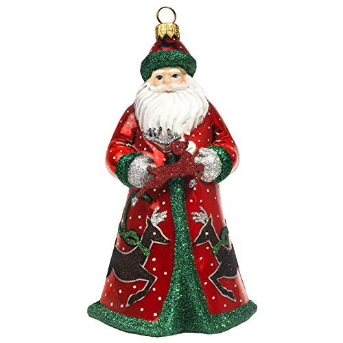Joy to the World Collectibles Glitterazzi Red Green and Silver Reindeer Santa Polish Glass Christmas Ornament