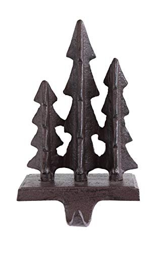 Creative Co-Op 8 Inch Cast Iron Stocking Holder with 3 Trees