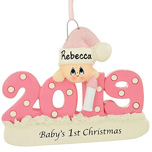 2019 Baby's 1st Christmas Ornament Personalized (Pink (Girl))