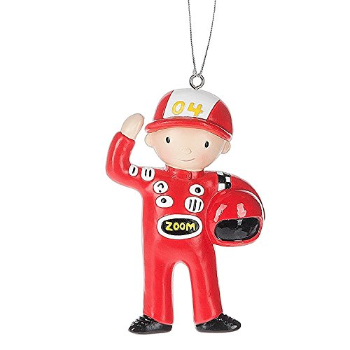Red Professional Race Car Driver Resin Stone Christmas Ornament Figurine