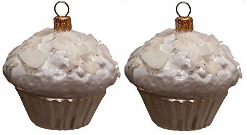 Pinnacle Peak Trading Company White Coconut Cupcake Dessert Polish Glass Christmas Ornament Set of 2
