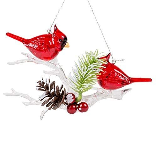 Cardinals on Winter Branch 7 x 7 Inch Plastic Decorative Hanging Christmas Ornament
