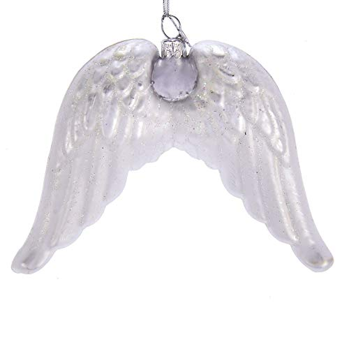 Kurt Adler 4.75-inch Noble Gems Angel Wings Glass Hanging Ornament