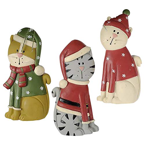 Blossom Bucket Set of 3 Cats with Christmas Clothes Ornaments