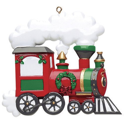 Personalized Train Christmas Tree Ornament 2019 – Tradition Red Express Santa Fe Locomotive Car Steam Wreath Classic Story Claus Track Toy Grand-Kid Child Love Baby's First – Free Customization