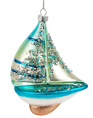 Midwest Blown Glass Sailboat Ornament 5 Inches