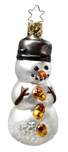 Inge-Glas Snowman Dressed to The Nuts 1-044-10 German Christmas Ornament