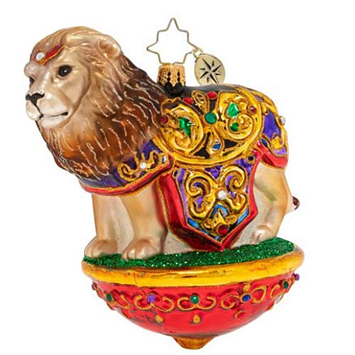 Christopher Radko Lavish Lion Christmas Ornament, red, Yellow, Brown
