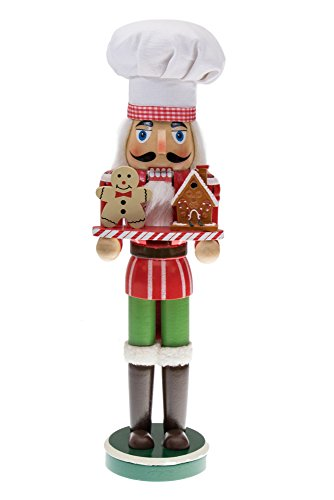 Clever Creations Christmas Chef Nutcracker Holding Gingerbread Man and House | Perfect for Any Collection | Festive Christmas Decor | Perfect for Shelves and Tables | 100% Wood | 15″ Tall