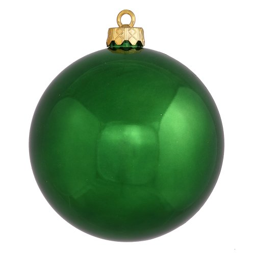 Vickerman Shiny Finish Seamless Shatterproof Christmas Ball Ornament, UV Resistant with Drilled Cap, 6 per Bag, 4″, Emerald