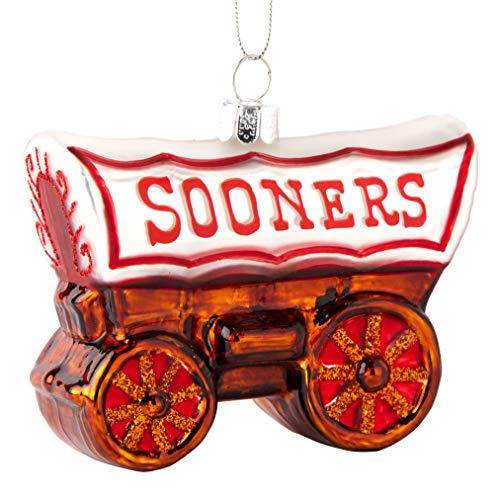 Topperscot Oklahoma Sooners Official NCAA Mascot Holiday Christmas Blown Glass Ornament 864426
