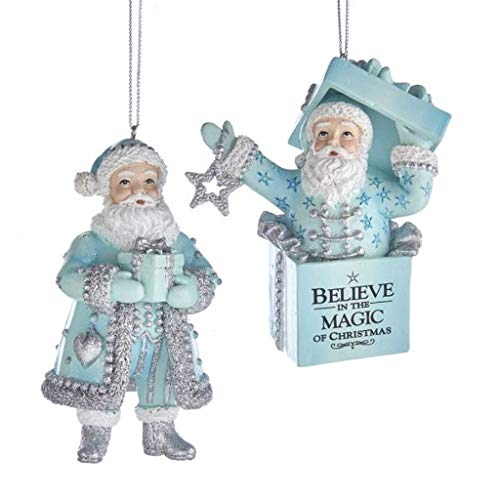 Kurt Adler Set of 2 Tiffany Blue Santa Gift Ornaments