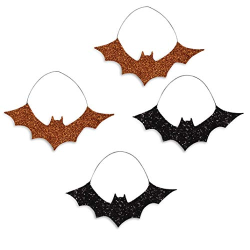 Bethany Lowe Halloween Orange Black Glitter Bat Tin Ornaments Set