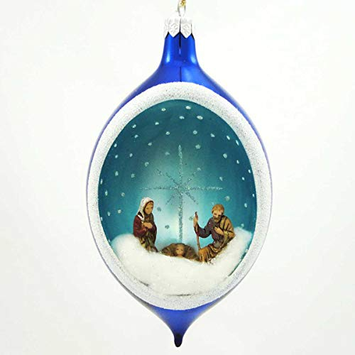 De Carlini Oval Ornament with Nativity Glass Christmas Holy Family Na1372 Blue