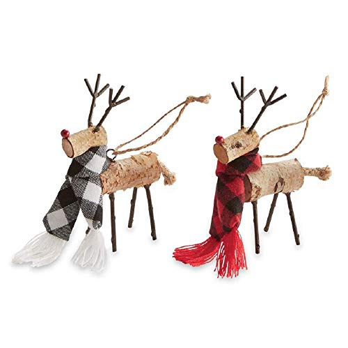 Mud Pie Christmas Buffalo Birch Deer Ornament (Red)