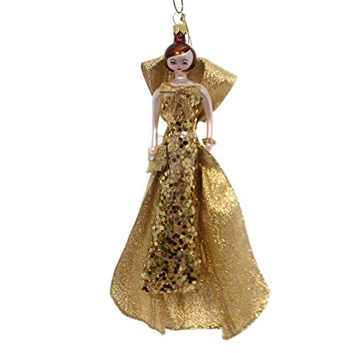 De Carlini Lady in Gold Sequin Dress Glass Italian Ornament Christmas Do7544